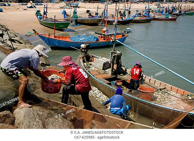 Cha-am fishing village.Thailand