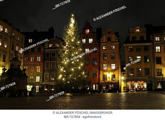 Gamla Stan (Old Town), Stortorget (Big Square) at night, Stockholm, Sweden, Scandinavia, Europe