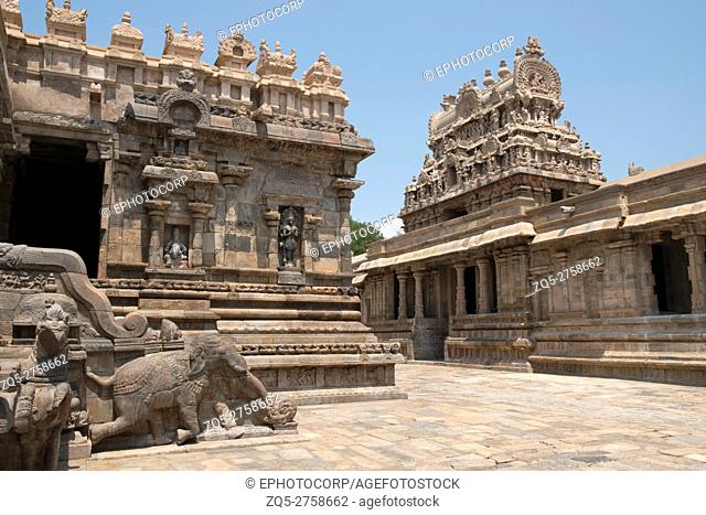 Maha-mandapa on the left and entrance gopura on the right, Airavatesvara Temple, Darasuram, Tamil Nadu, India. View from South