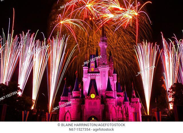 Wishes fireworks show with Cinderella Castle behind, Magic Kingdom, Walt Disney World, Orlando, Florida USA