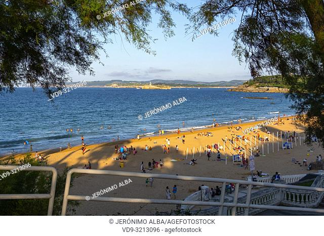 Sardinero beach in summer. Santander, Cantabrian Sea, Cantabria, Northern Spain, Europe