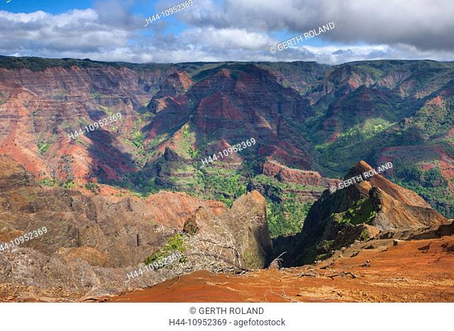 Waimea, canyon, USA, United States, America, Hawaii, Kauai, gulch, rock, cliff, colors, erosion, vantage point, viewpoint