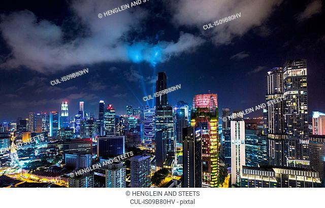 Financial district cityscape at night, Singapore, South East Asia