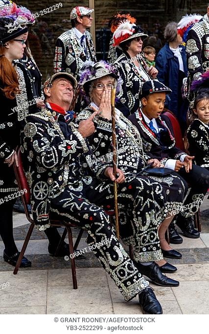 Pearly Kings & Queens At The Annual Pearly Kings and Queens Harvest Festival Held At The Guildhall, London, UK