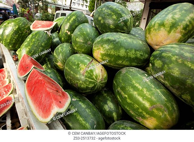 Watermelons for sale at the Selcuk market, Izmir Province, Aegean Coast, Turkey, Europe