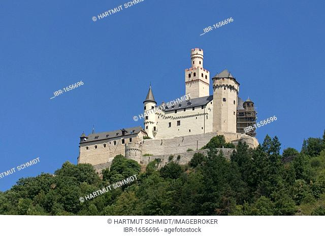 Markburg Castle, Hoehenburg Braubach, Braubach, UNESCO Upper Middle Rhine Valley World Heritage Site, Rhineland-Palatinate, Germany, Europe