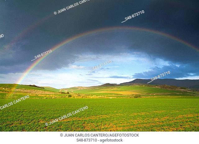 Rainbow over fields. La Rioja, Spain