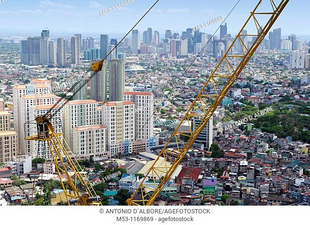 The central business district of Makaty city seen from the top of a building in construction  Mandaluyong City  Metro Manila  The Philippines