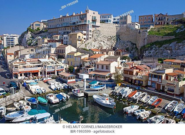 Picturesque little fishing port of Vallon des Auffes, Marseille, Bouches-du-Rhone, Provence-Alpes-Cote d'Azur, Southern France, France, Europe