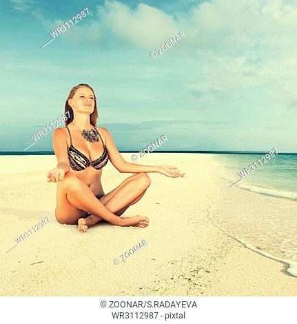 Woman enjoying sunny day in resort