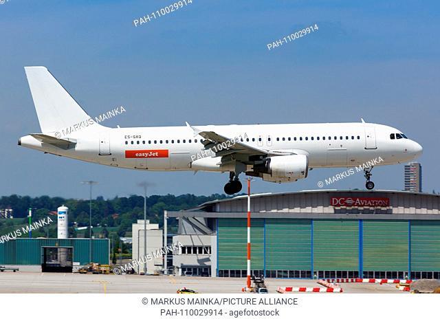 Stuttgart, Germany - May 21, 2018: EasyJet SmartLynx Estonia Airbus A320 airplane at Stuttgart airport in Germany. | usage worldwide