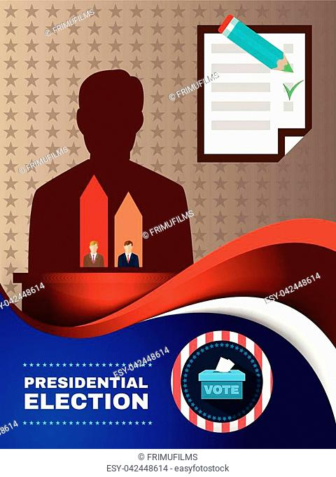 Digital vector usa election with candidate charts and every vote counts, vote box, flat style