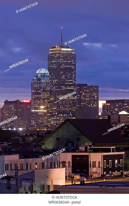 Buildings lit up at night, Boston, Massachusetts, USA