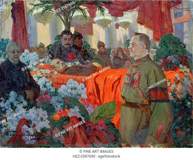 'Lenin's Funeral Ceremony', 1924. The Bolshevik leader died on 21 January 1924. His embalmed body was taken to be permanently exhibited in his mausoleum in Red...