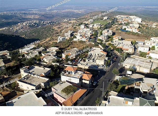 Aerial photograph of the Druse village of Yanuch-Jat in the western Galilee