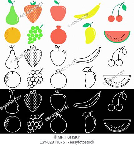 Vector set of fruit icons in colored and lines style