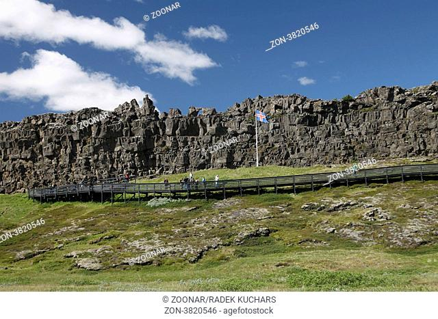 Lögberg Law Rock in Þingvellir Thingvellir. The National Flag of Iceland. Suðurland, South Iceland