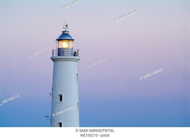 Illuminated lighthouse nearby the Playa Rancho Luna, Cienfuegos Bay, Cuba