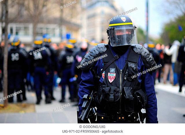 Riot police in Paris. France