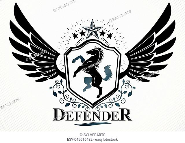 Classy emblem made with eagle wings decoration, horse and pentagonal star symbols. Vector heraldic Coat of Arms