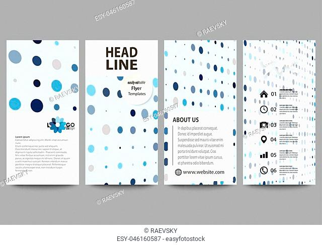 Flyers set, modern banners. Business templates. Cover design template, easy editable abstract vector layouts. Abstract soft color dots with illusion of depth...
