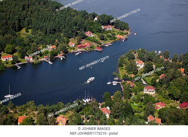Aerial view of village on sea coast