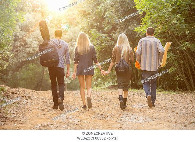 Four friends walking on path in the forest