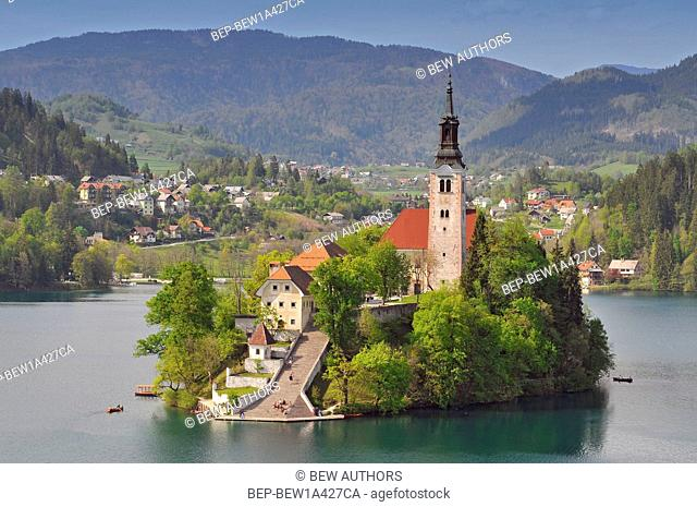 Slovenia, Bled, Lake Bled and the church of Assumption, Gorenjska Region