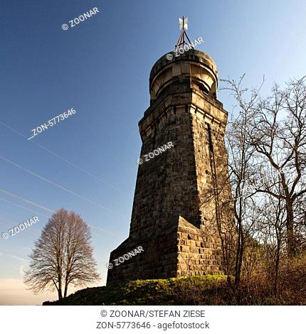1898 entstand auf einem der hoechsten Punkte des Kreises Unna, 214 Meter ueber Normal Null, eine Bismarksaeule mit Aussichtsturm und Feuerkorb
