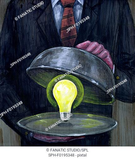 Illustration of man serving glowing light bulb in platter