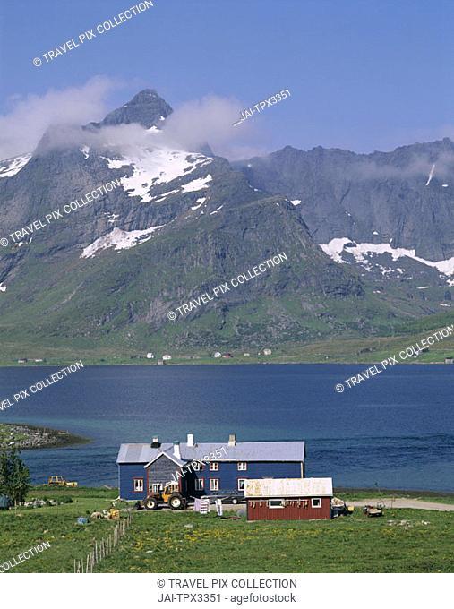 Typical Scenery / Farmhouse / Sea / Mountains, Stromness, Lofoten Islands, Norway