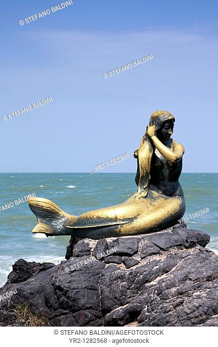 Golden mermaid statue on Samila beach, Songkhla ,Thailand
