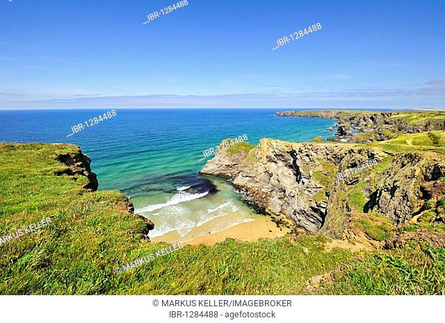 Coastal landscape with bay in Newquay on the north coast of Cornwall, England, United Kingdom, Europe