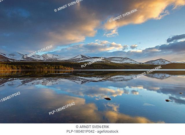 Loch Morlich at sunset in winter, Cairngorms National Park, Badenoch and Strathspey, Highland, Scotland, UK