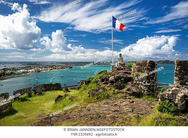 Fort Louis overlooking Marigot Bay, Marigot, Saint Martin, West Indies