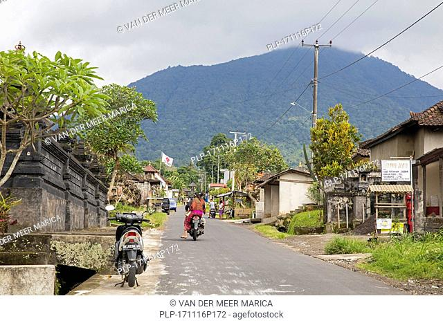 Street scene in the rural village Munduk, Buleleng regency, Bali, Indonesia