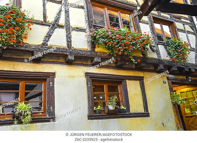 Eguisheim, Alsace, timber house with typic flower decoration, France