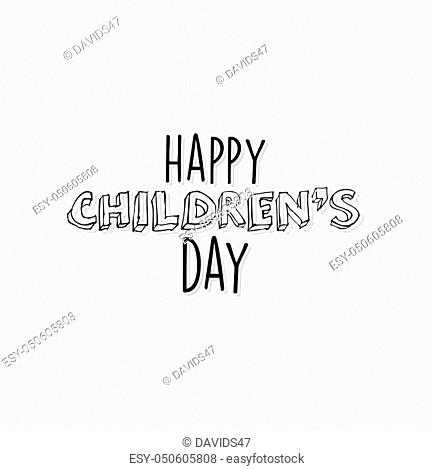 abstract happy children day label on a white background