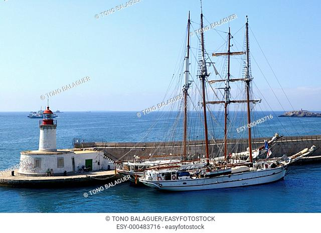 Ibiza harbor from balearic islands in Spain  Holiday destination