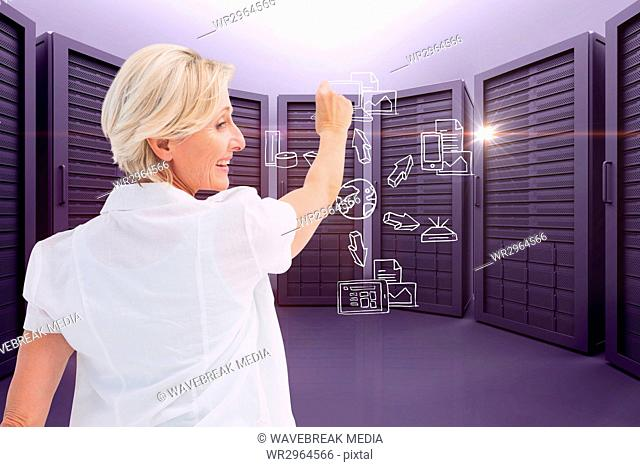 A businesswoman is drawing schema against server room background