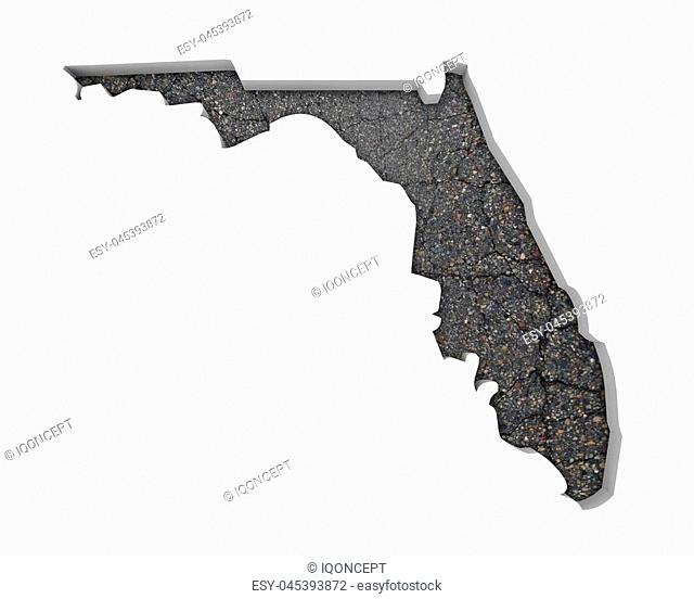 Florida FL Road Map Pavement Construction Infrastructure 3d Illustration