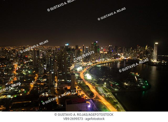 panama Urban Skyline night
