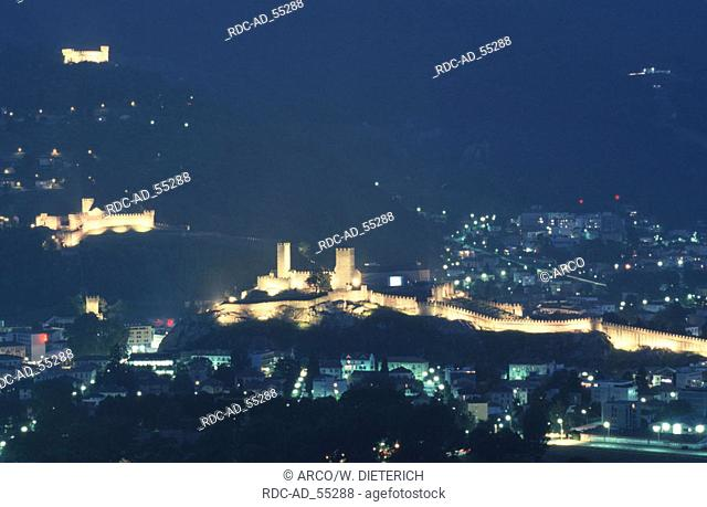 Castel Grande Castello di Montebello and Castello di Sasso Corbaro at night Bellinzona Ticino Switzerland