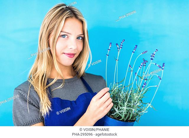 Woman holding lavender