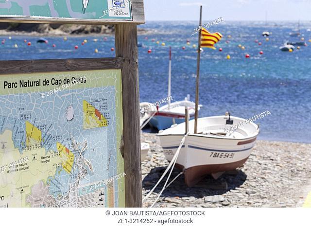 Mediterranean beach, sign Parc Natural Cap de Creus, narutal area park near to Cadaques,Costa Brava,province Girona, Catalonia