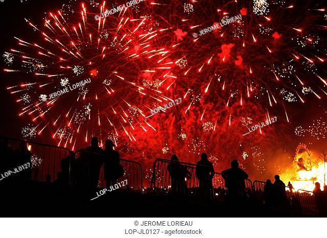 Scotland, City of Edinburgh, Edinburgh, Fireworks at the Calton Hill Bonfire in Edinburgh