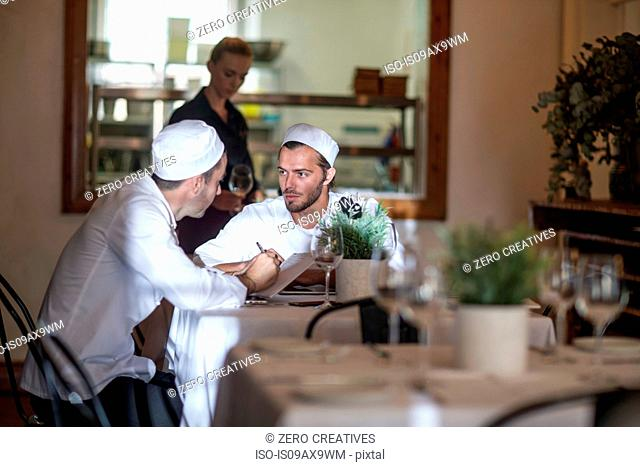 Chefs in discussion at break time