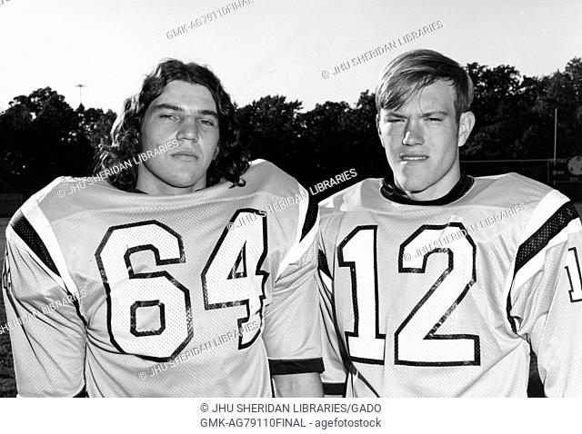 Johns Hopkins University football co-captains, linebacker Gunter Glockner (left) and quarterback Jack Thomas (right), 1973