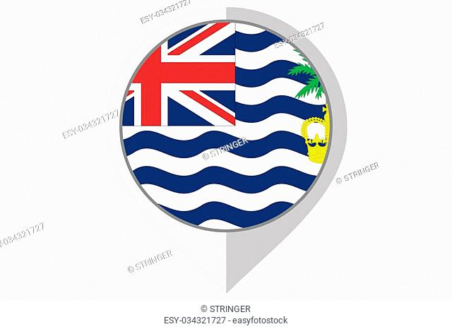 A Flag Illustration inside a pointed of the country of British Indian Ocean Territory