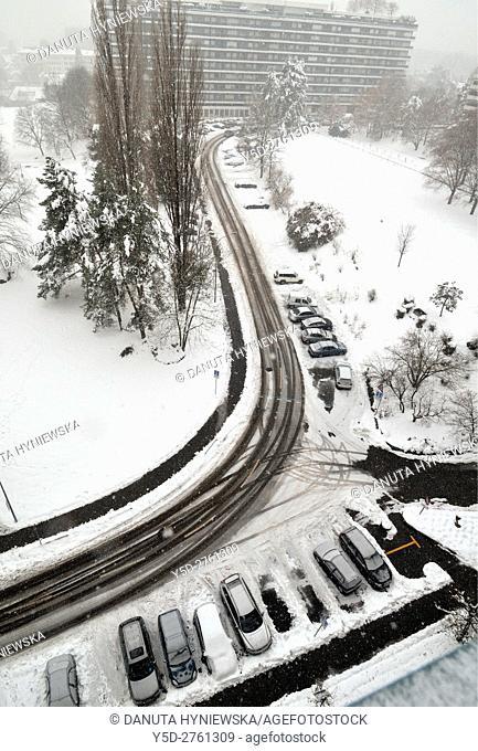 Av. De-Bude street in winter, Petit Saconnex, Geneva, Switzerland, Europe